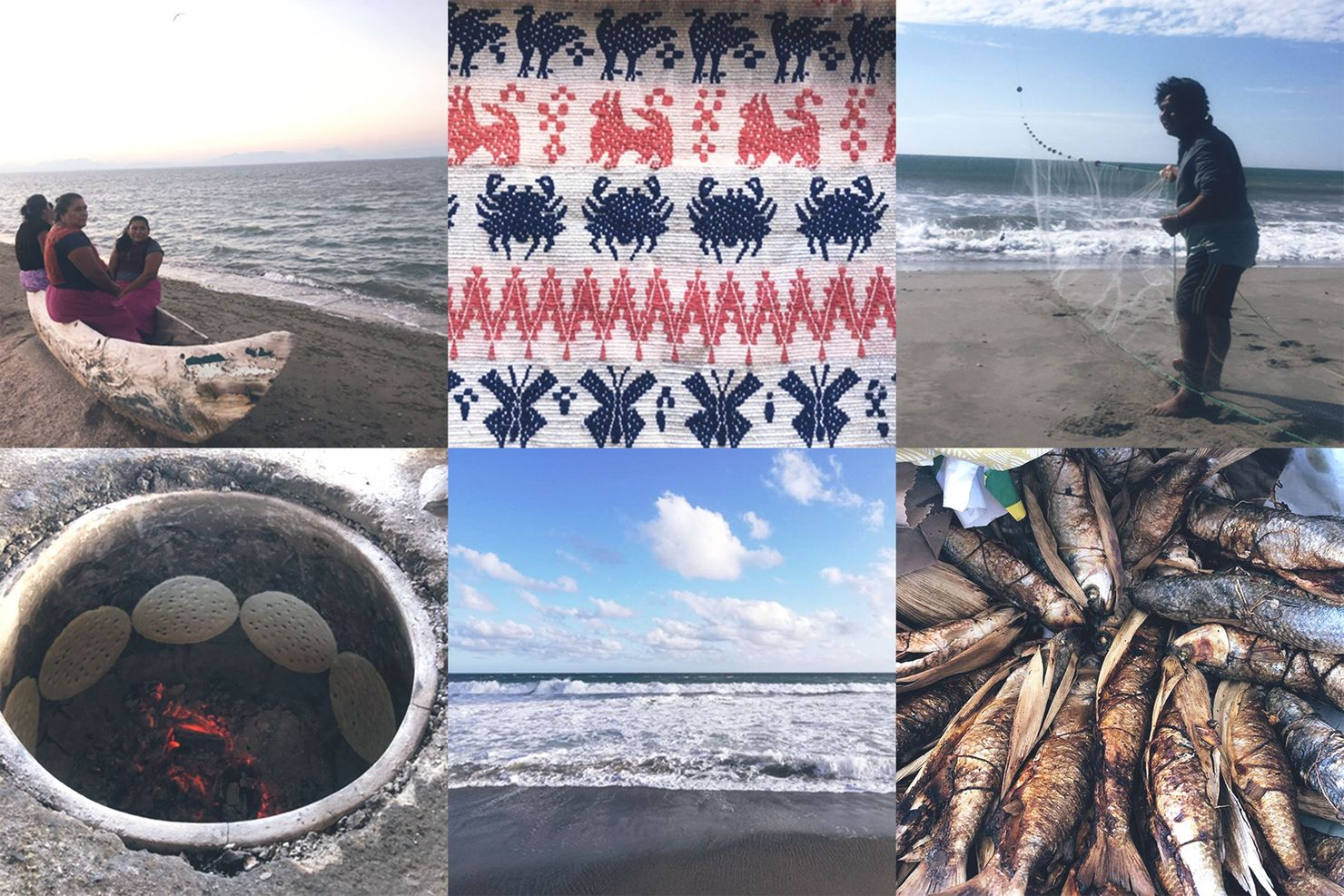 a collage of 6 images showing Ikoot fisherwomen on a canoe at the dead sea, textiles, a fisherman and his kite/net, totopos, the living sea, and baked stuffed fish