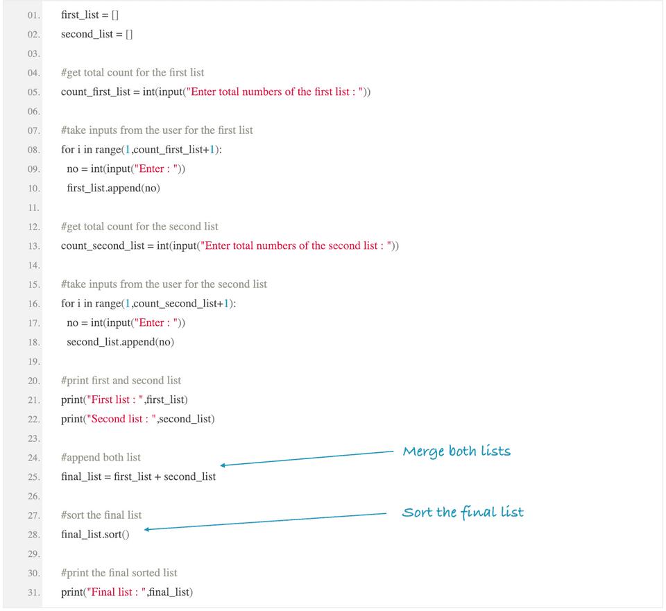 python merge and sort list
