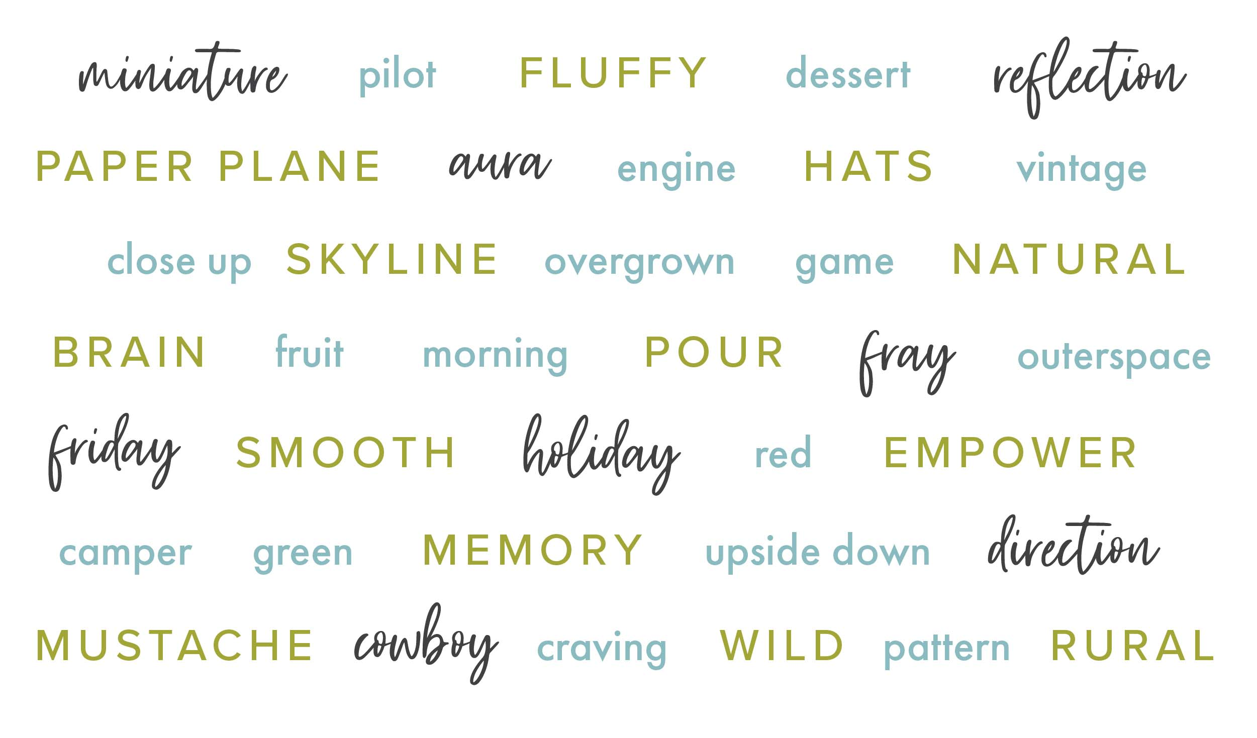 word cloud filled with creative prompts