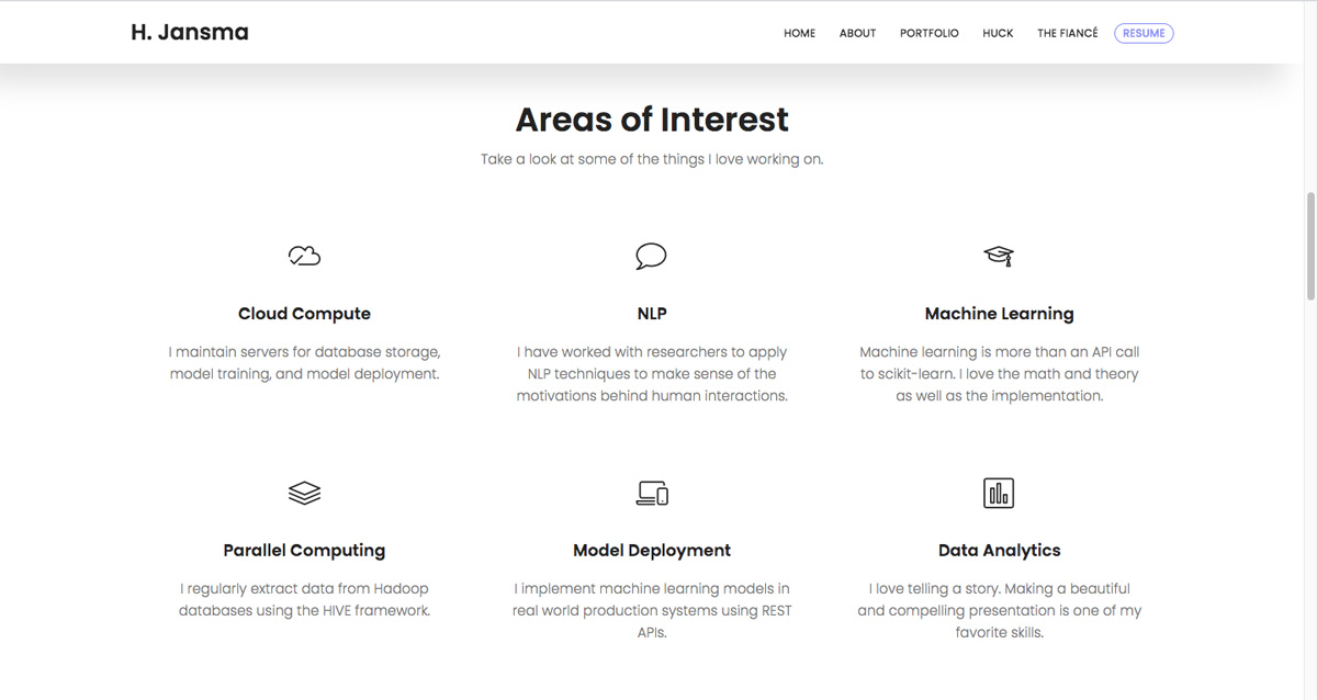 A screen grab from Harrison Jansma's data analytics portfolio, showing his skills and interests