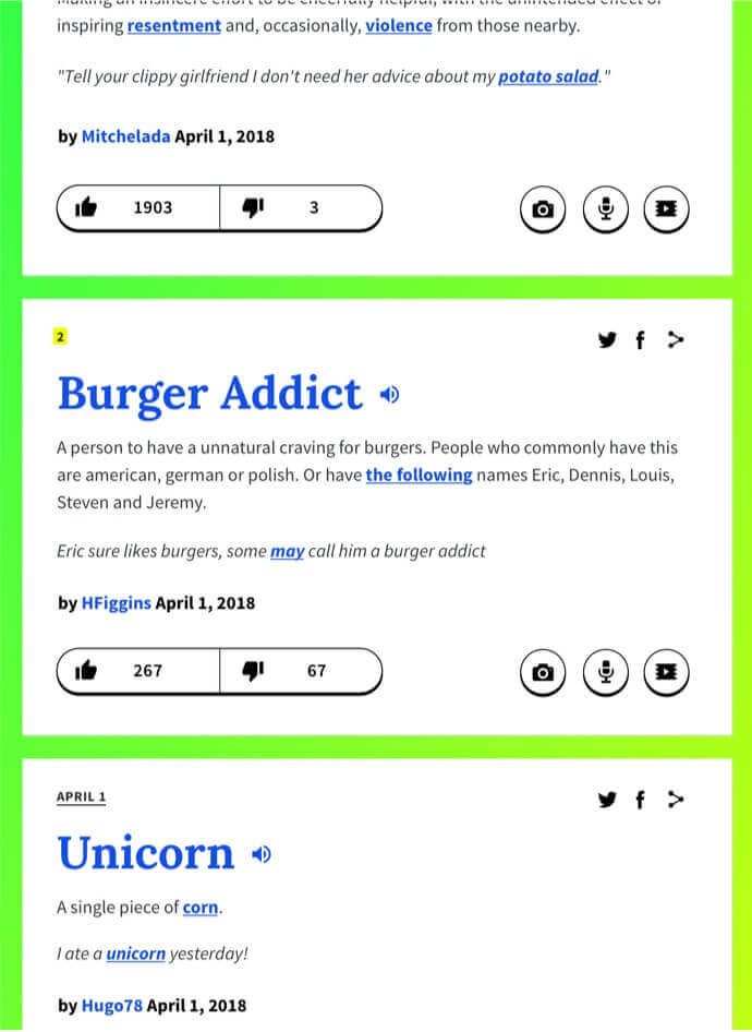 Urban Dictionary Entries