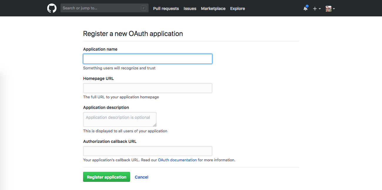 GitHub screenshot: New OAuth application fields