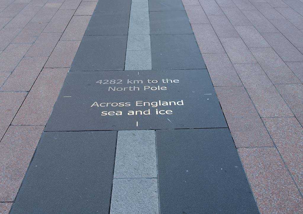 The prime meridian marked on the floor at the Royal Observatory in Greenwich