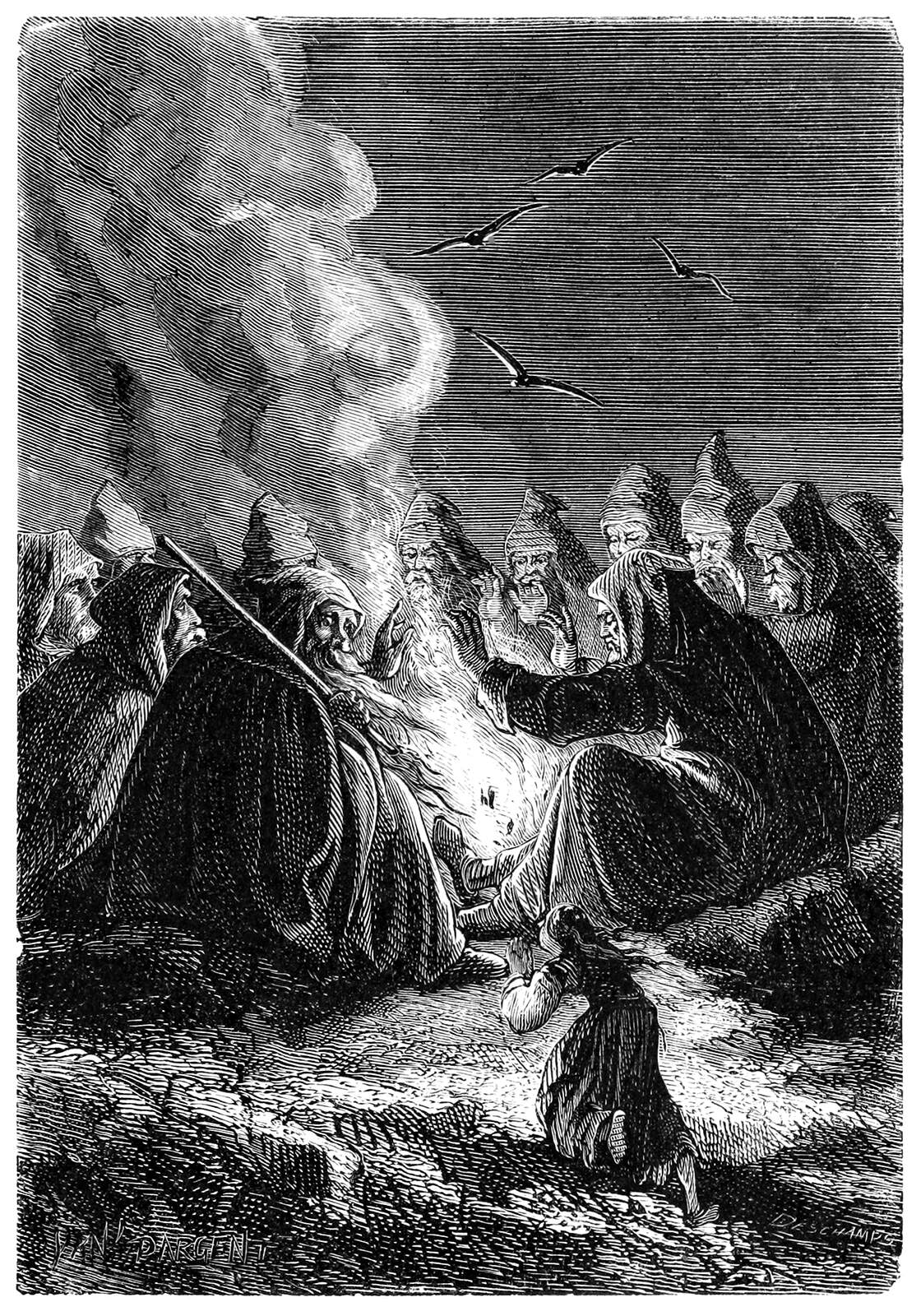 A circle of giant men gather around a fire