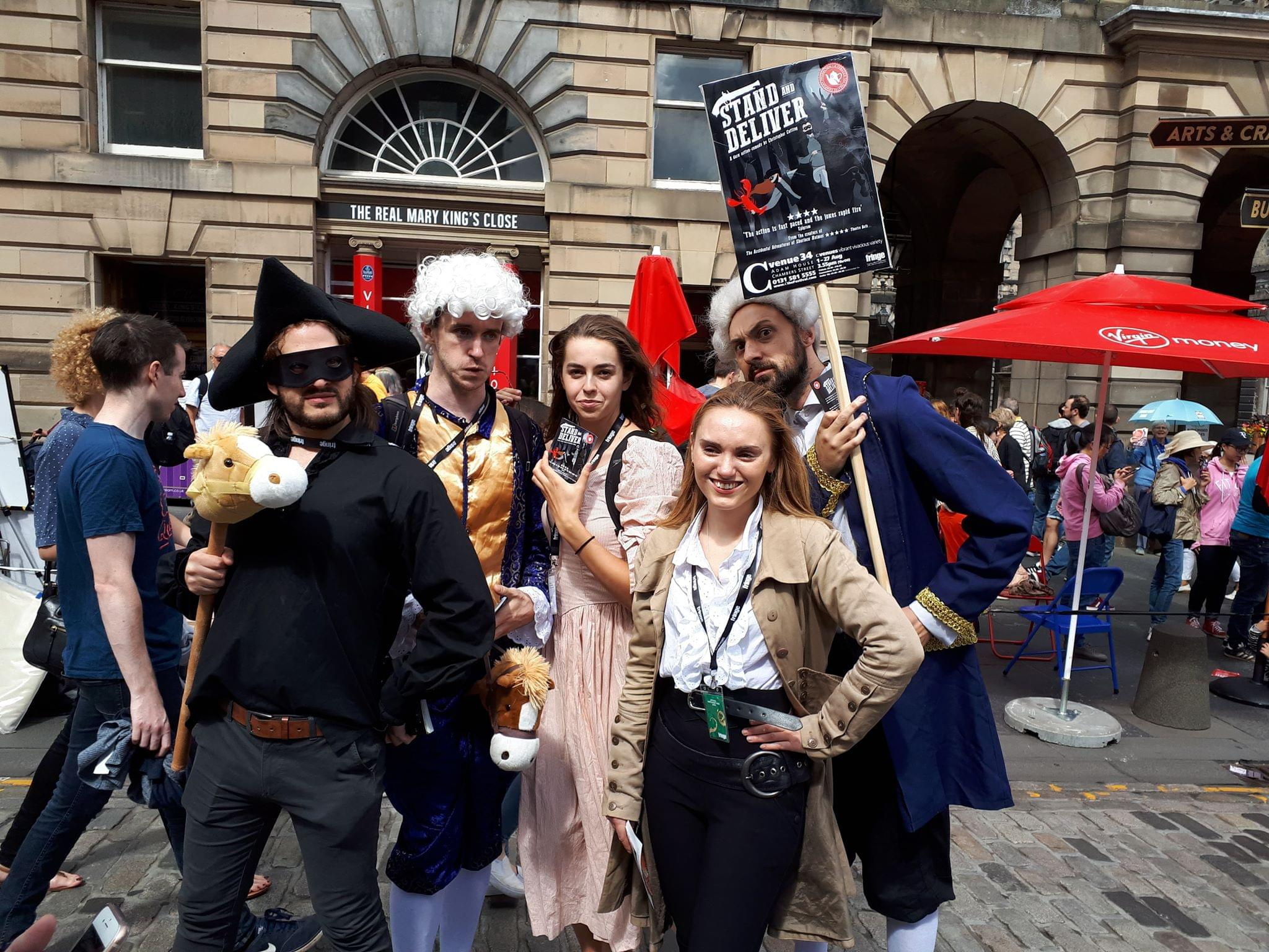 The cast of Stand and Deliver, flyering at Edinburgh Fringe Festival