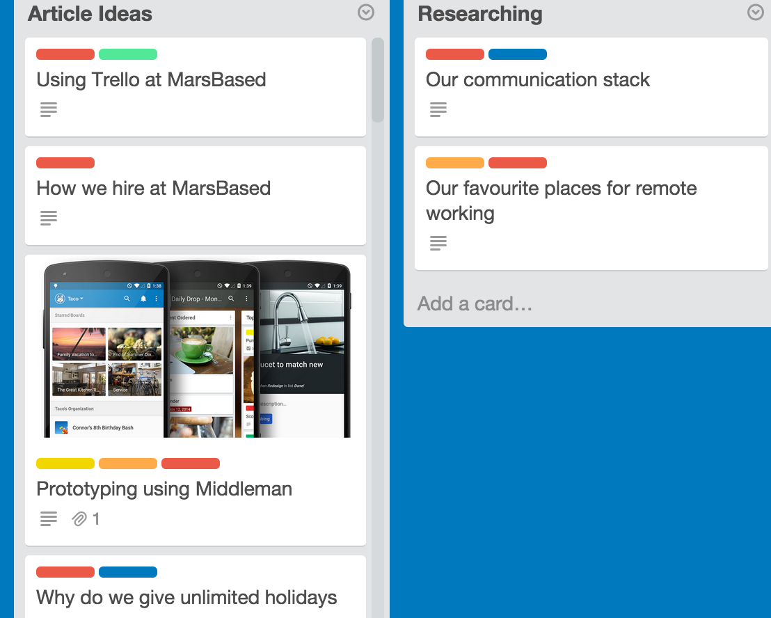 Our blog ideas on Trello