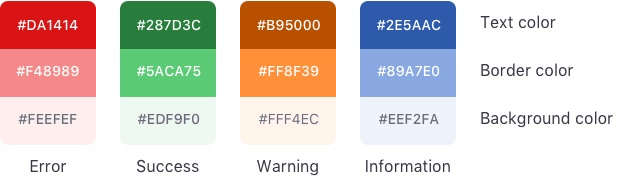 alert colors to define each type as the table below describes