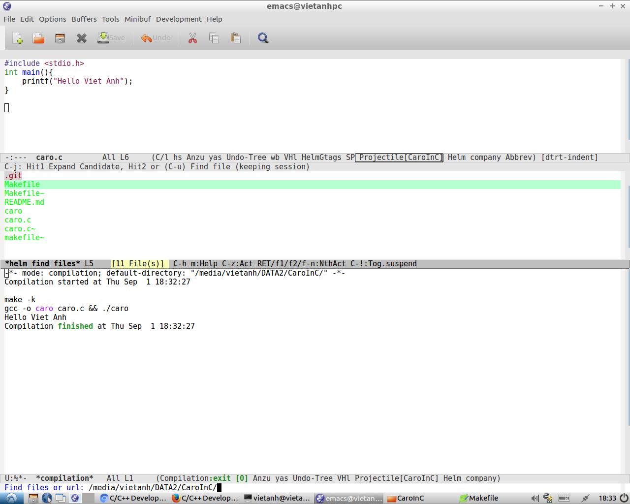 Cấu hình Emacs để lập trình C