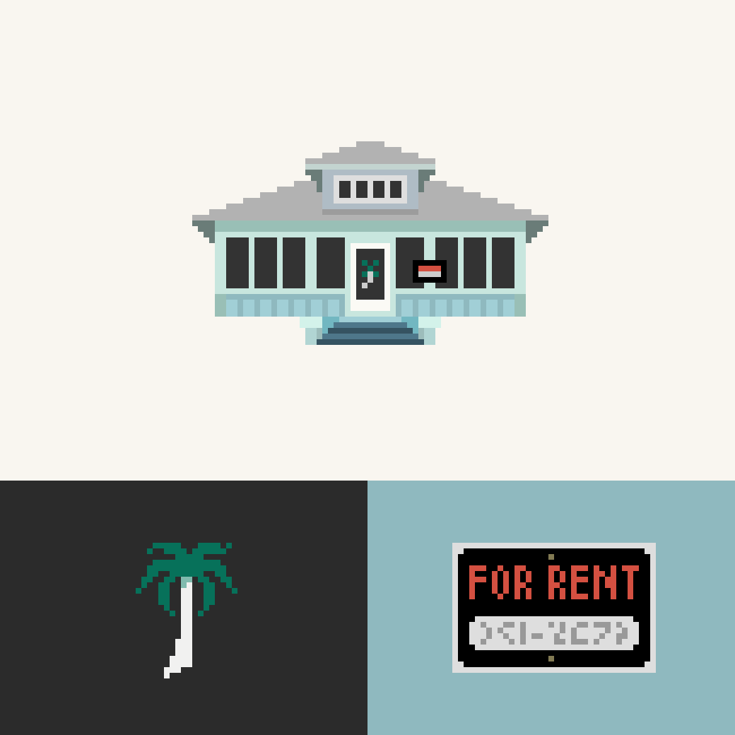 "A blue beachy house rendered in pixel art. Pixel details show a palm tree from the front door and a ""for rent"" sign."