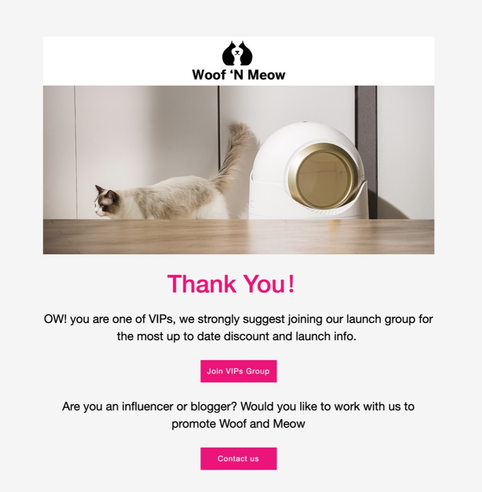 Woof n Meow KickoffLabs thanks page