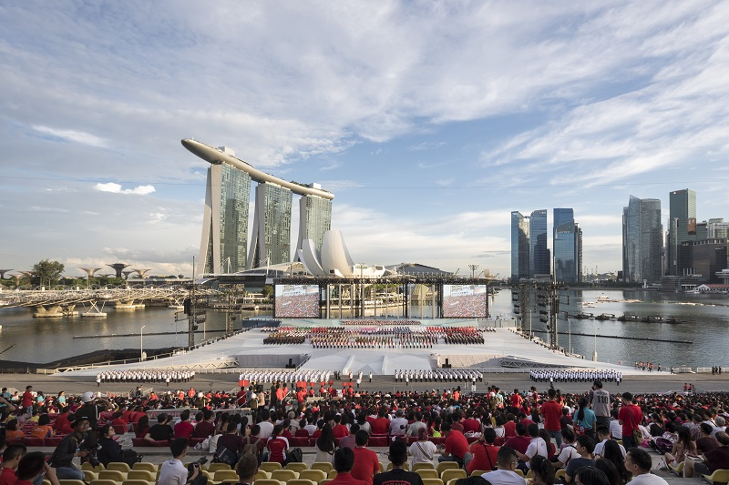 ASOLIDPLAN's design of the stage for the National Day celebrations in 2018 at Marina Bay