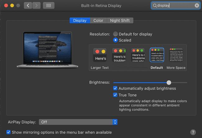 mac display options