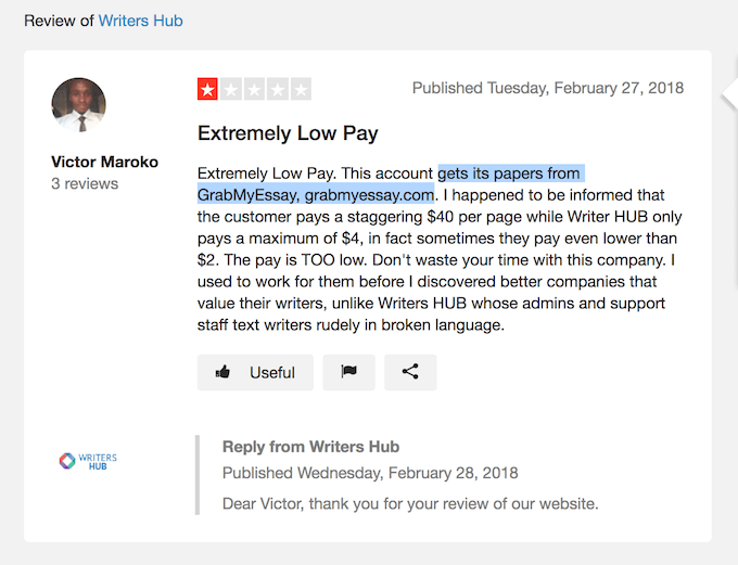 Feedback from one of the WritersHub.org writers about extremely low pay and about direct connection to grabmyessay.com