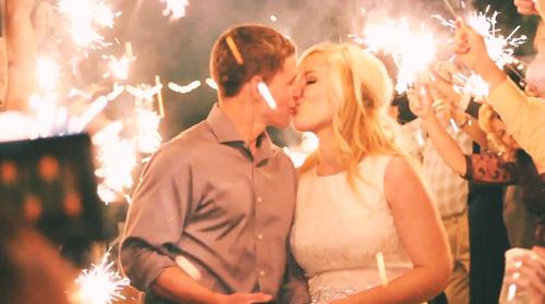 Sparkler send off kiss