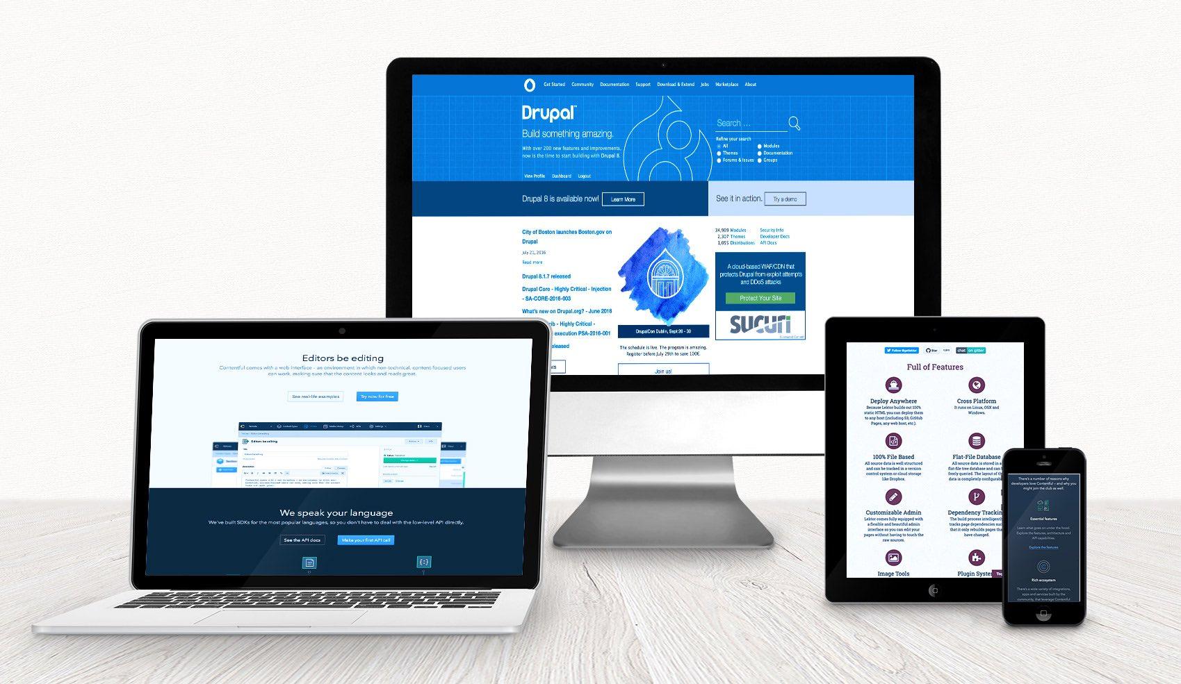 Screenshots von Drupal, Contentful und Lektor