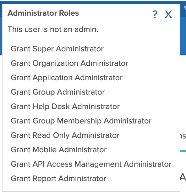 Example of the dialog for granting administraton roles