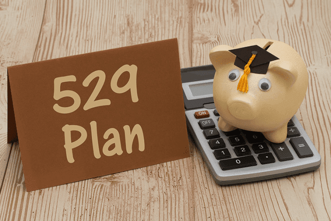 529 plan with piggy bank on a calculator