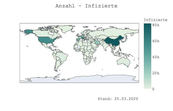 Weltkarte - Infizierte
