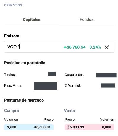 Captura de pantalla de sección de compra y venta en GBM+. Se muestran volúmenes altos en el ETF VOO.