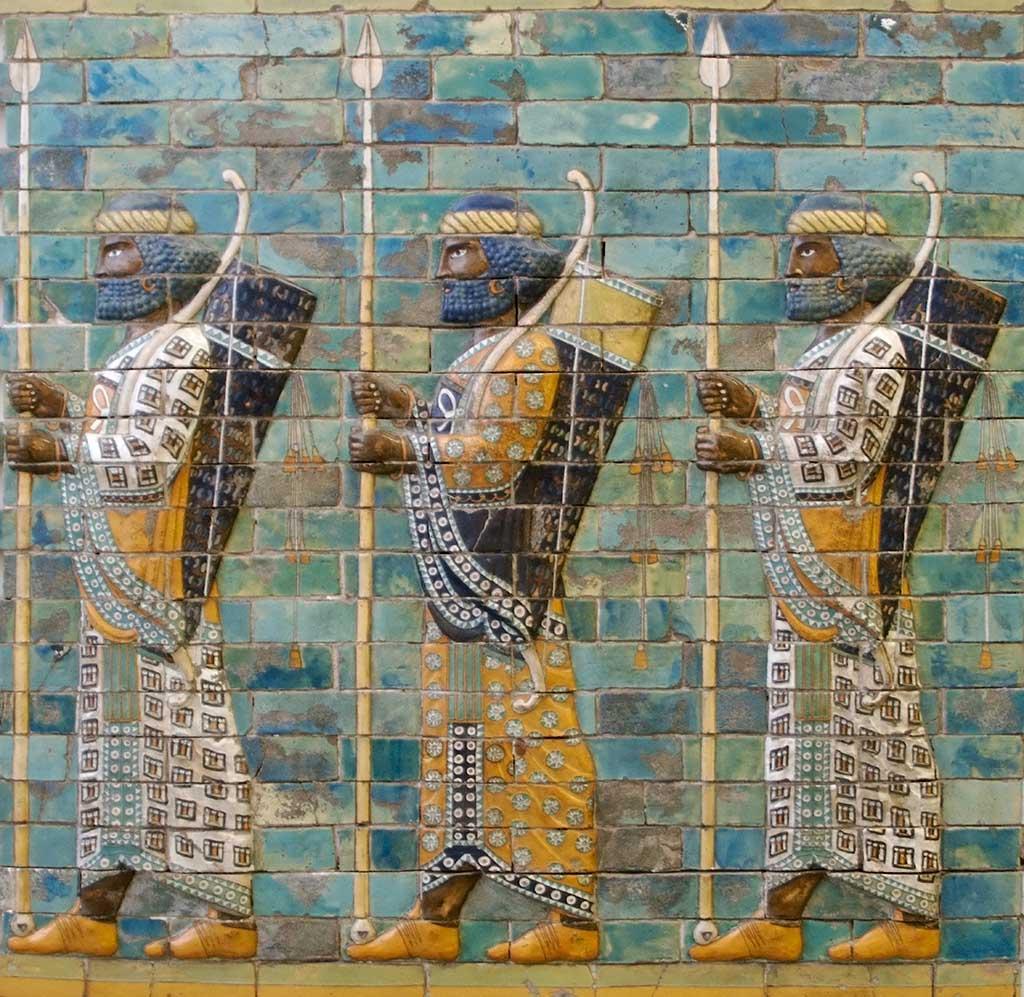 Rrelief sculpture of ancient Assyrian warriors