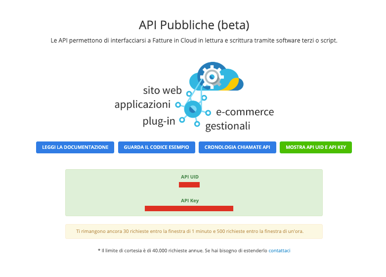 Fatture in Cloud API section