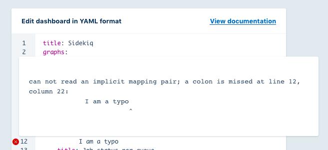 New dashboard editor with error screenshot