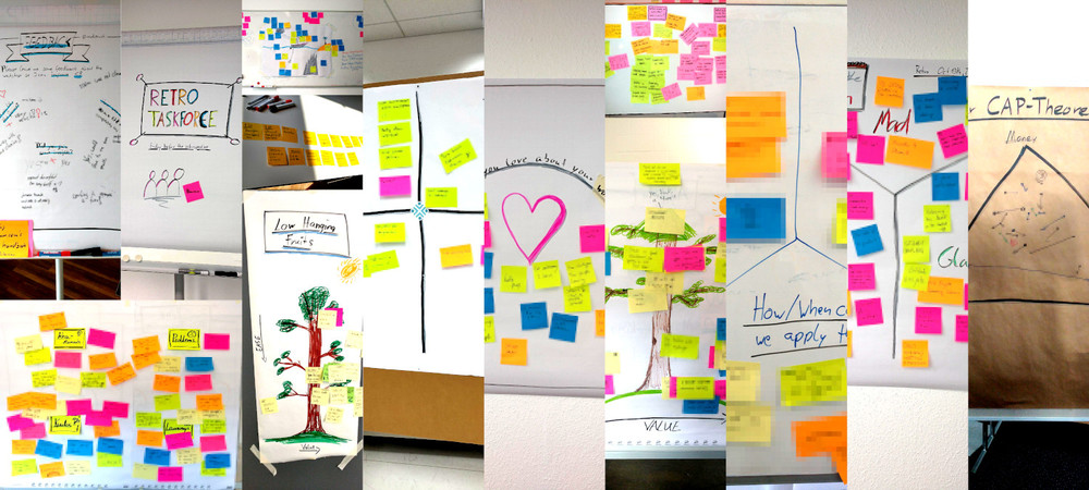 A photocollage of the retro results of a few retros. Lots of colorful post its on flipcharts with drawings on them