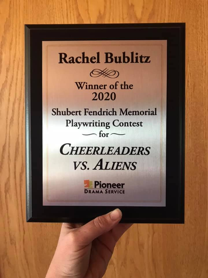 Award plaque for Pioneer Drama's Shubert Fendrich Memorial Playwriting Contest.