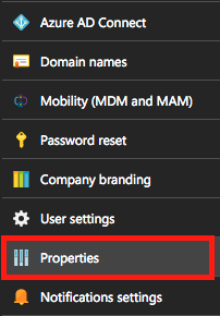 Azure AD settings