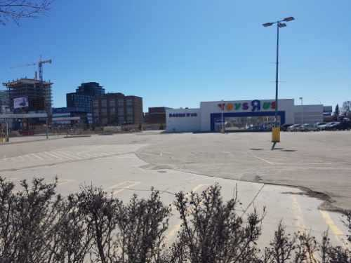 Toys R Us parking lot across the street South from Saskatoon midtown mall