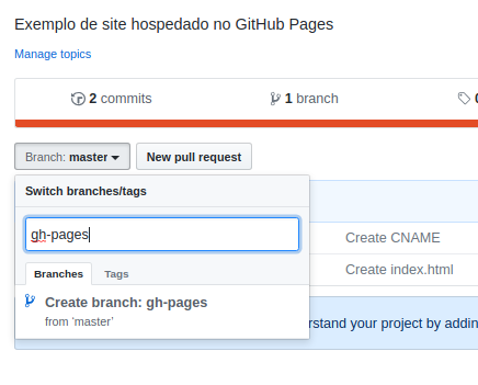 Criando a branch gh-pages no GitHub