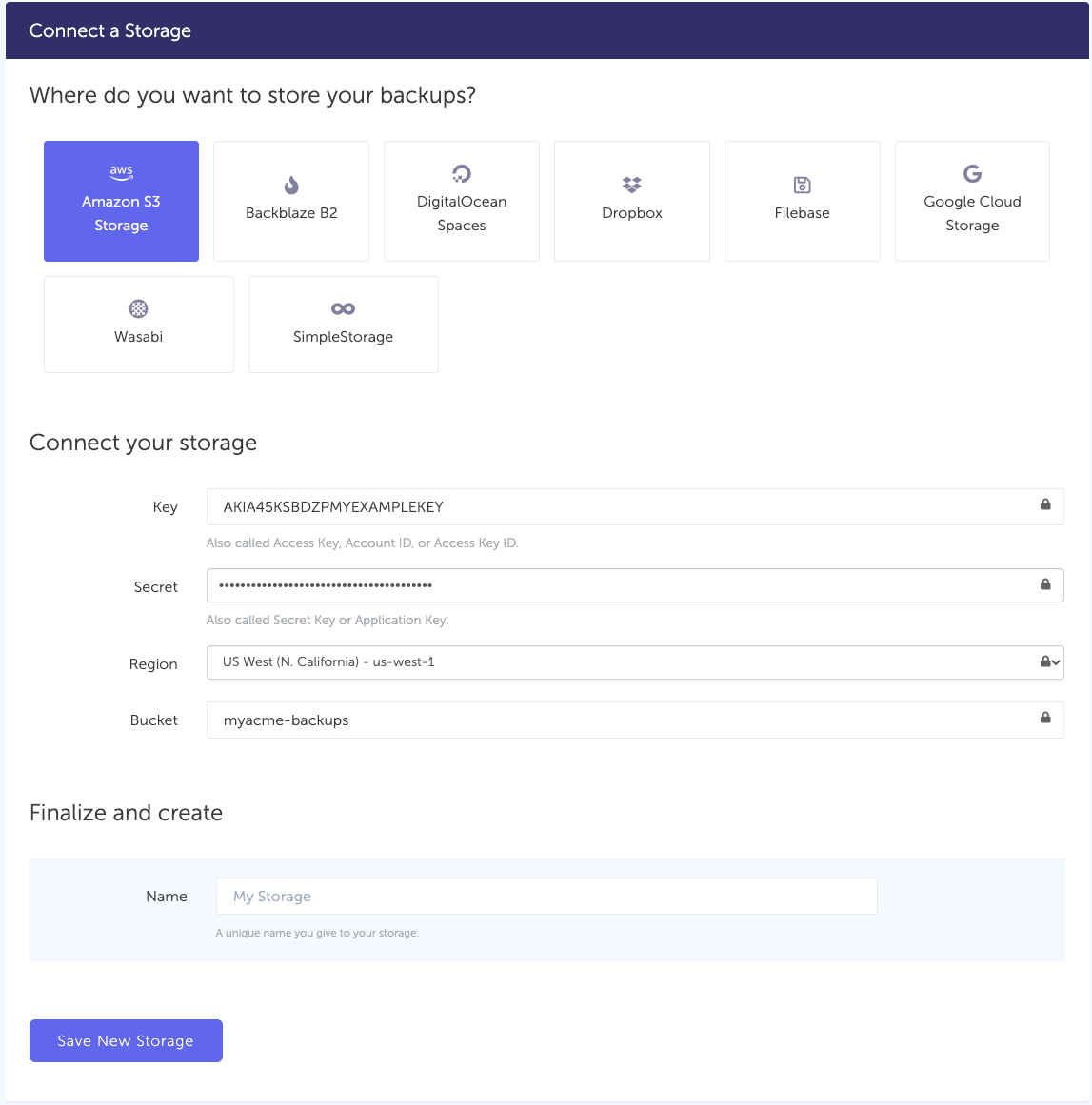 Connect AWS S3 bucket to SimpleBackups