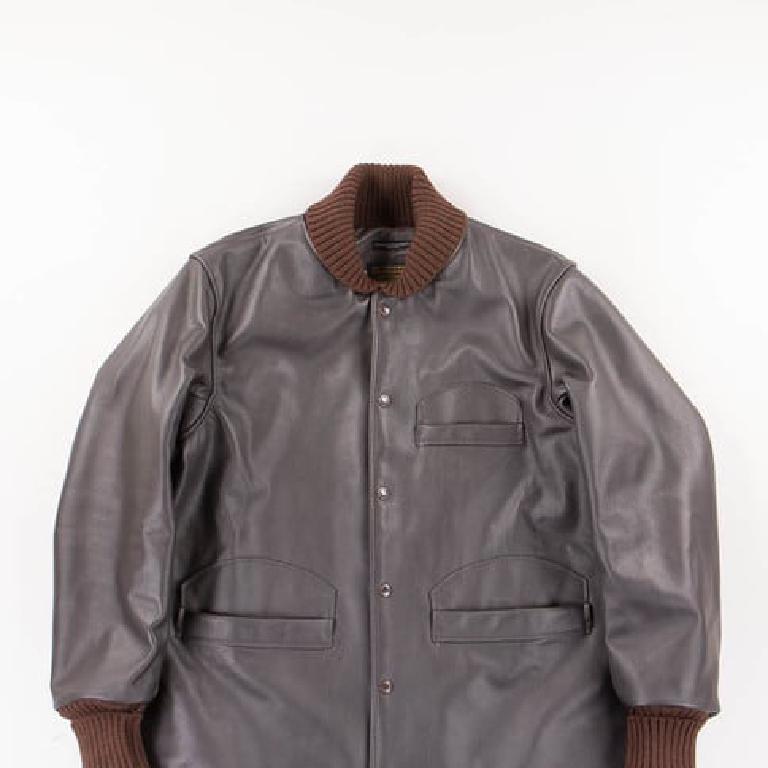 Brown leather varsity jacket