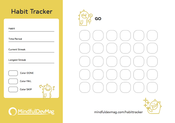 printable habit tracker monster design colored version
