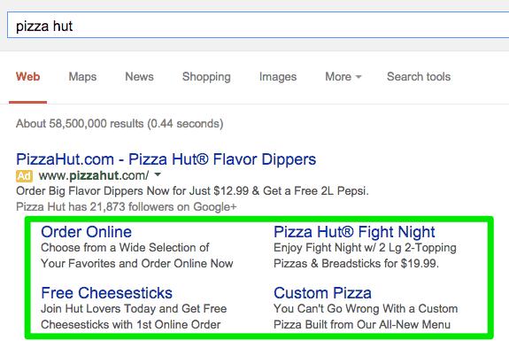 Pizza hut Google search results.