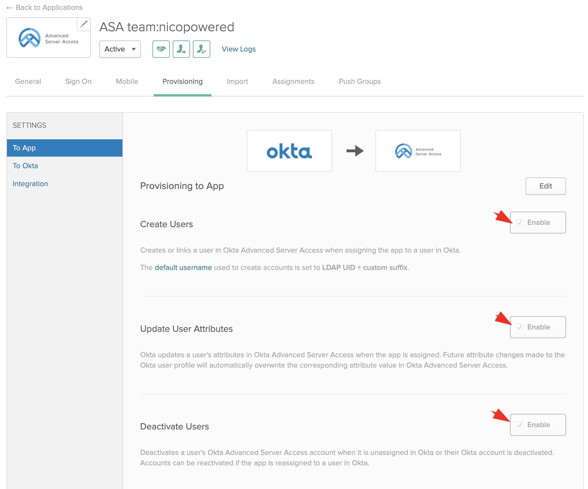 Okta enable app
