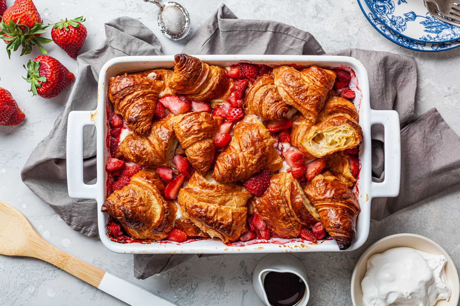 Croissant Baked French Toast With Strawberries and Cream Cheese