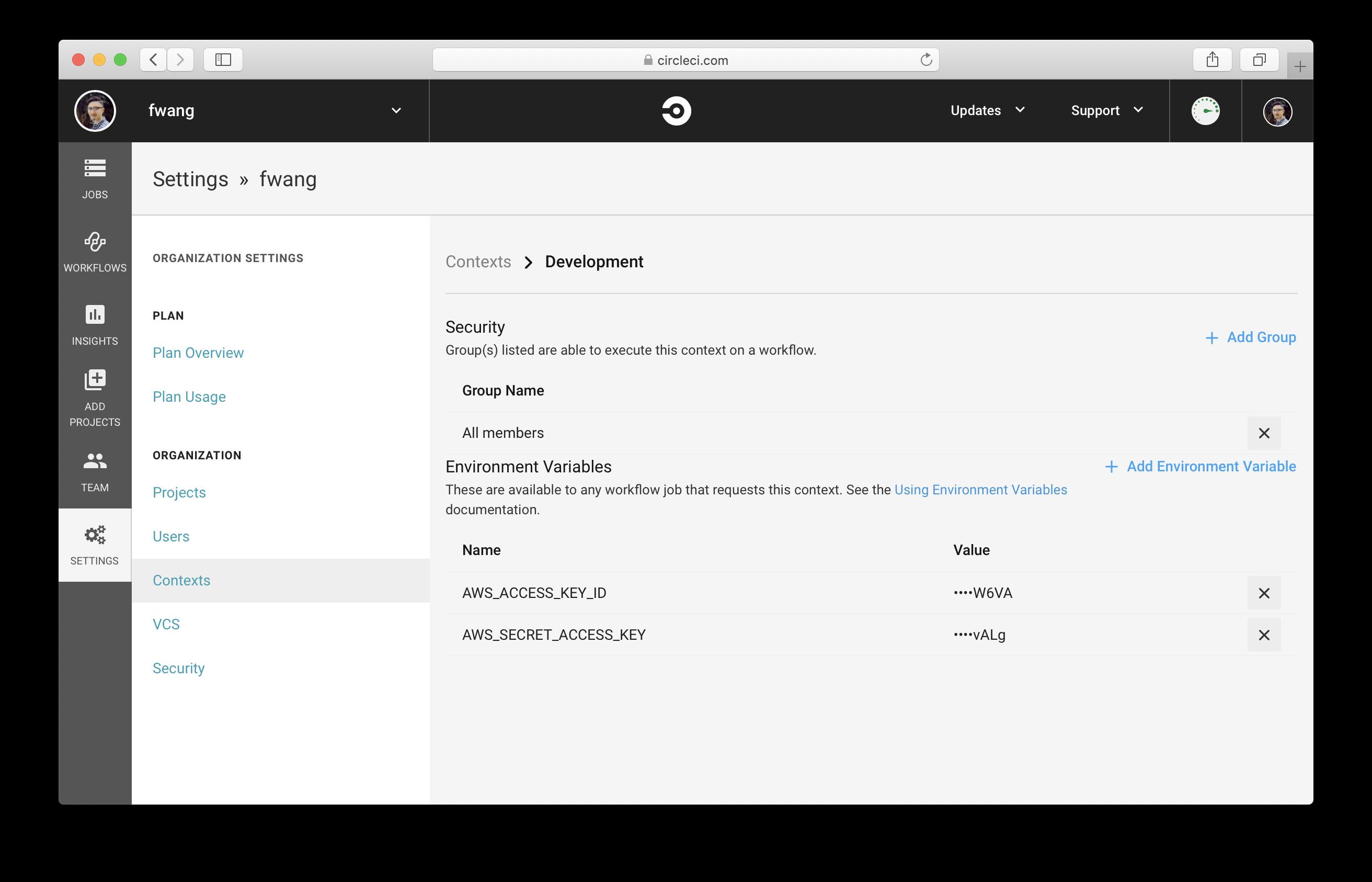 Add AWS Secret Access Key as Environment Variable in CircleCI
