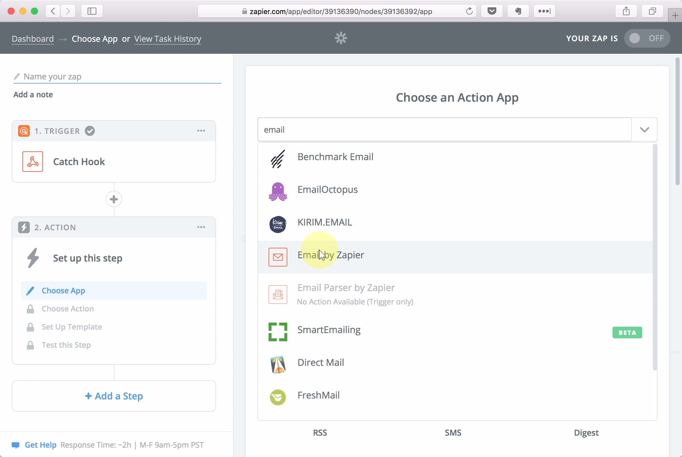 Seach for email and select the Email by Zapier option.;