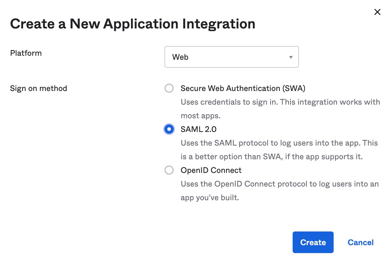 Select SAML 2.0