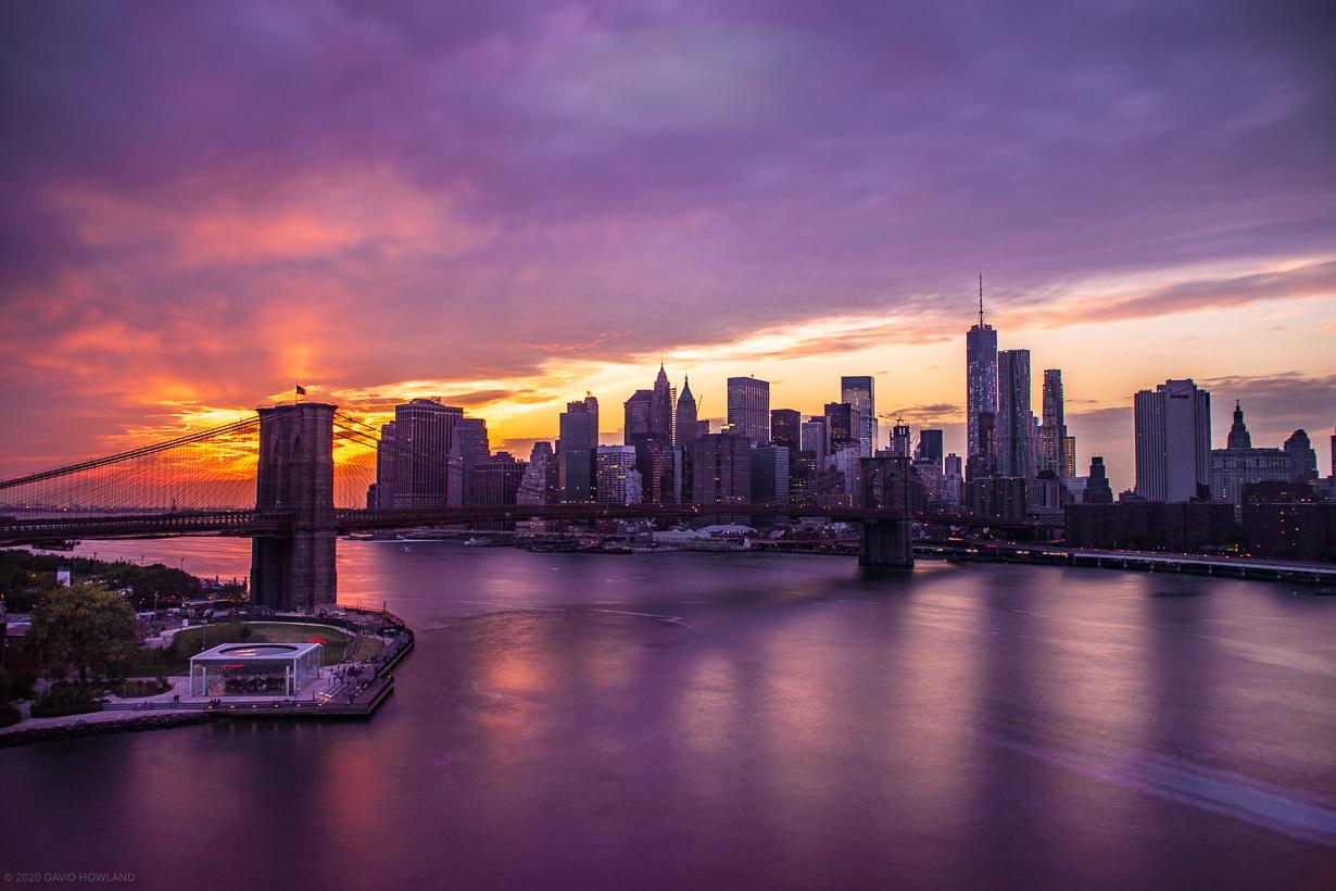 Purple New York Skyline Sunset