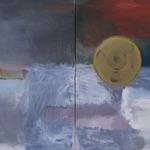 """Hando Tamm, Estonia. """"Bullet Proof"""" 2006. Canvas, oil, 75x120cm (Hypotenuse collection)"""