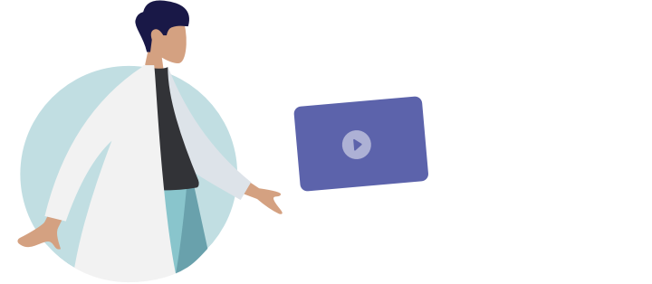 Illustration showing a doctor sending a video to a patient.