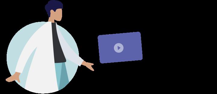 Illustration zeigt, wie ein Arzt ein Video an einen Patienten sendet.