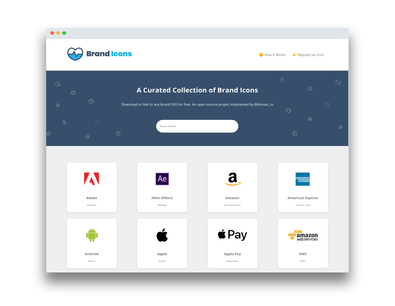 Brand Icons Homepage Screenshot