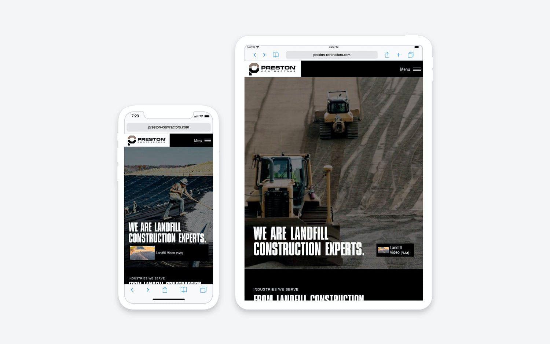 Preston Contractors website - mobile/tablet view