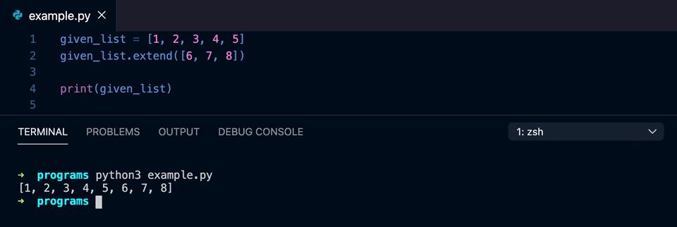 python extend list