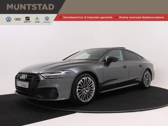 Audi A7 Sportback 55 TFSI e 367 pk Quattro Competition | Verlengde garantie | 2 x S-Line | Nachtzicht-assistent | panorama dak | Head-up display | Trekhaak | 360 camera | Stoelverwarming vóór en achter |