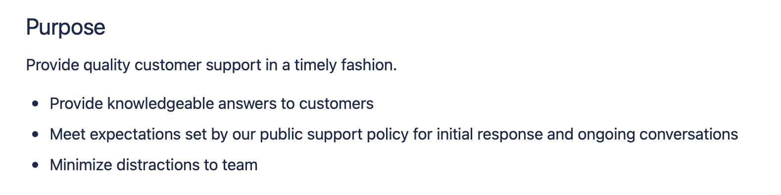 Excerpt from support policy