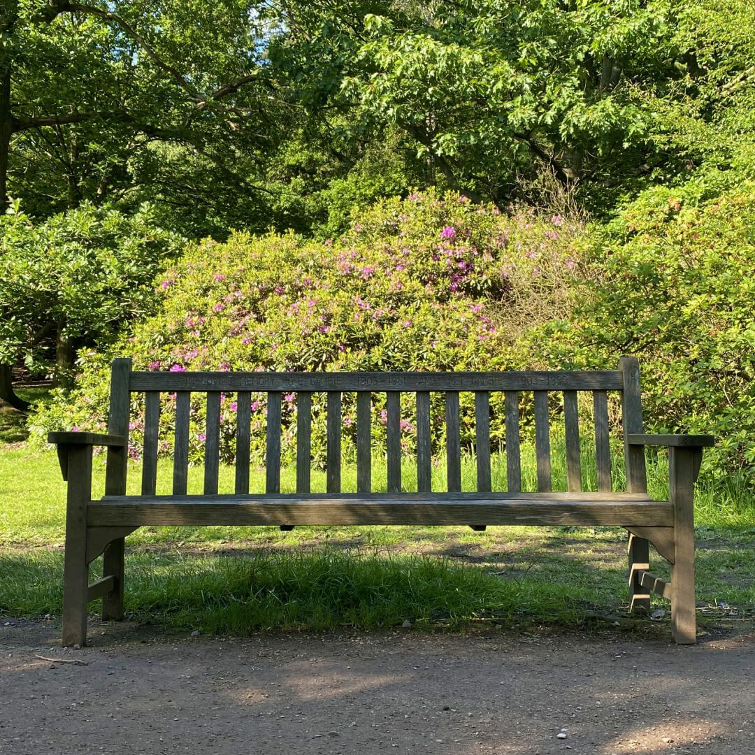 One of the many wooden benches that line the path through Golden Acre Park
